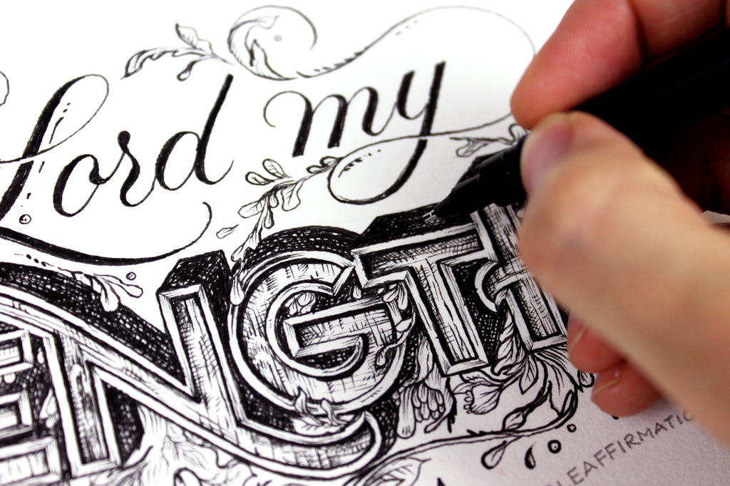 Close up lettering drawing psalm 43
