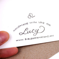 "Back of handmade card with handwritten inscription ""Handmade with love for Lucy www.bibleaffirmations.art"" and artist's signature 2020"