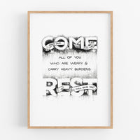 Come and Rest - Matthew 11:28 art print A4 handlettering