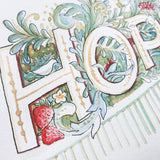 Close up of bird, flowers and strawberry watercolour details surrounding the H and O of HOPE