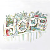 Square cropped watercolour drawing of the word HOPE surrounded by watercolour leaves, fruit, flowers and a bird and accented with gold ink.