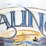 Close up detail of letters and watercolour illustration of seascape with little boat silhouette under the banner of the letters