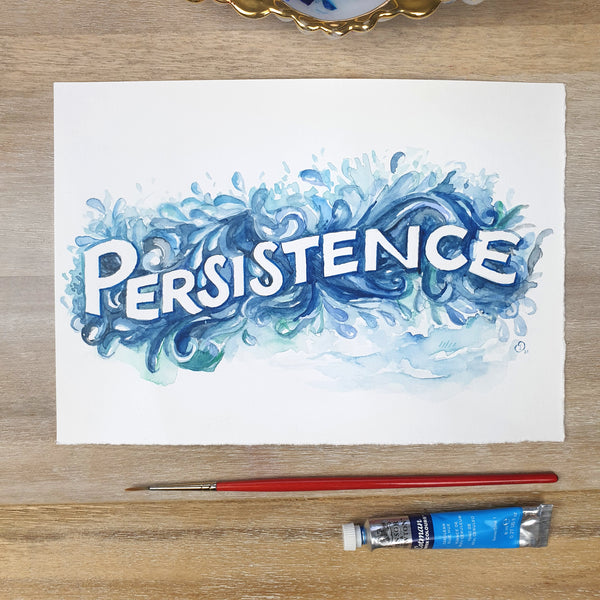ORIGINAL ART: Persistence - Word of the year series A5 mixed media piece