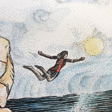 Close up detail of illustration showing a woman jumping off the cliff into the water with arms and legs outstretched