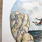 Close up of illustration showing watercolor and pen details of rocks and clouds