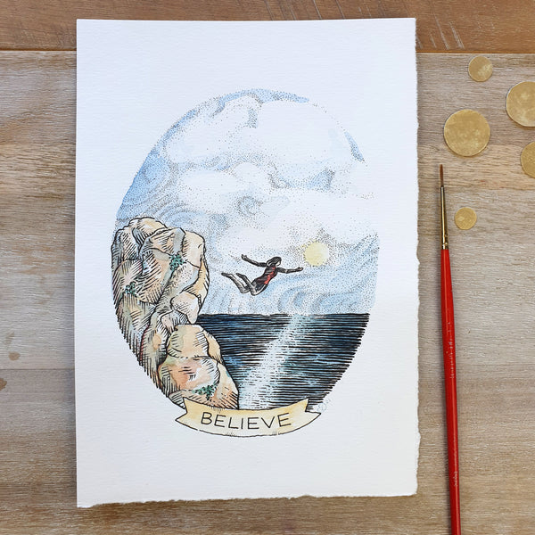 "Styled photo of a mixed media illustration showing a woman cliff jumping into a sea. There is a banner captioning the image with the word ""Believe"""