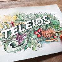 ORIGINAL ART: Teleios - Word of the year series A5 mixed media piece