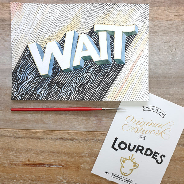 ORIGINAL ART: Wait - Word of the year series A5 mixed media piece