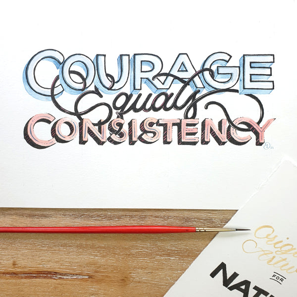 ORIGINAL ART: Courage equals Consistency - Word of the year series A5 mixed media piece