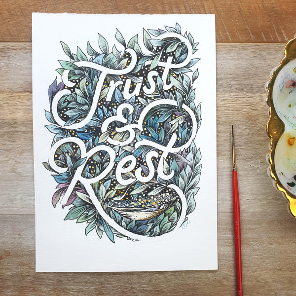 ORIGINAL ART: Trust & Rest - Word of the year series A5 mixed media piece