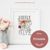 Mock up of US letter size printable art in a white frame styled with pale pink roses
