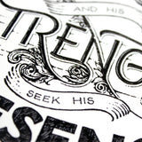 Seek the Lord and His Strength - Psalm 105:4 art print - A4 handlettering