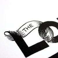 The Lord is For Me - Psalm 118:6 black & white art print - A4 handlettering