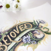 """Beloved"" Colour Giclee Print with hand applied gold accent - A4 handlettering"