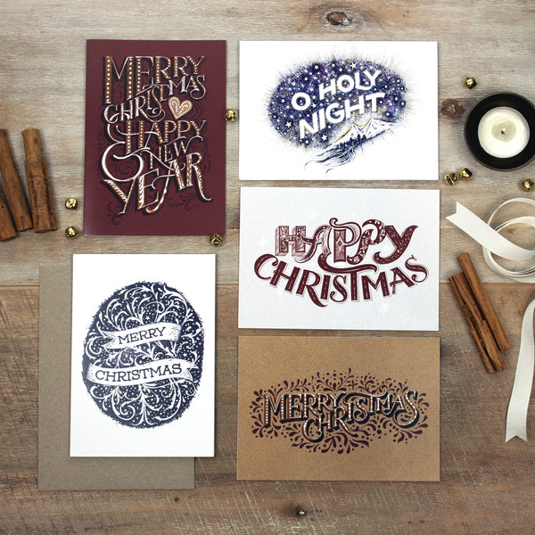 5 Christmas Cards - Gingerbread theme