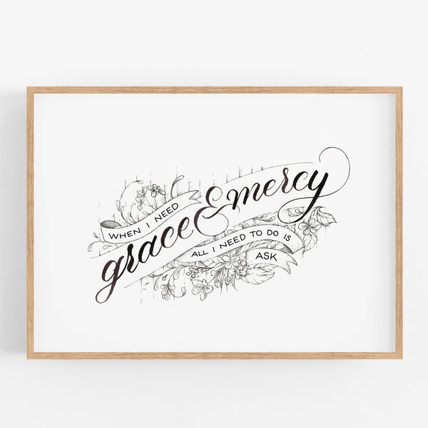 Grace & Mercy - Hebrews 4:16 A4 handlettered art print