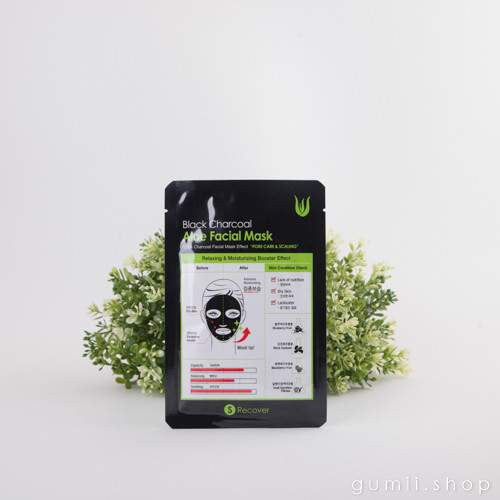 Black Charcoal + Aloe Moisturizing Face Sheet Mask by S Recover, sheetmask,S-Recover, asian skincare