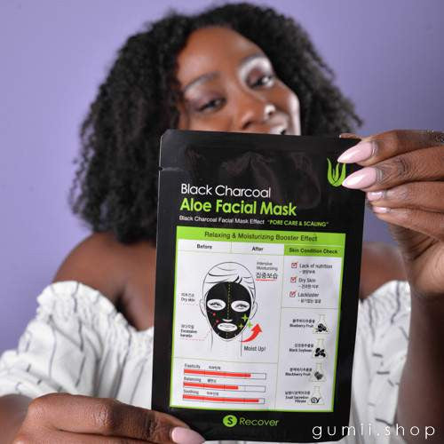 Black Charcoal + Aloe Moisturizing Face Sheet Mask by S Recover,Sheet Mask,S-Recover, Asian skin care