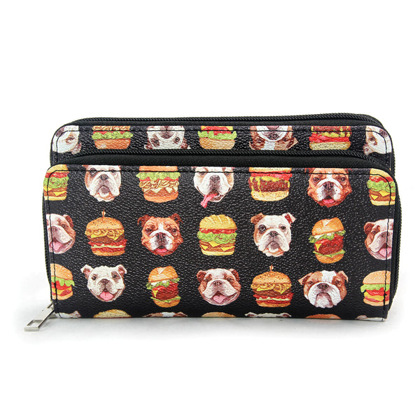 Sleepyville Critters - Bulldogs and Burgers Wallet in Vinyl Material