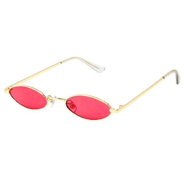 Retro Slender Oval Mod Gold and Pink Sunglasses