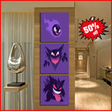 3 Piece Framed Pokemon Art Canvas Set