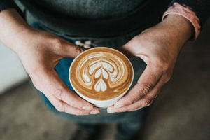 Serving a flat white or latte with latte art.