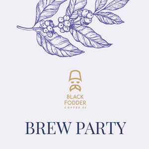 Black Fodder Coffee Co. brew party ticket.
