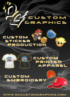 DG Custom Graphics custom sticker production, printed apparel and custom embroidery.