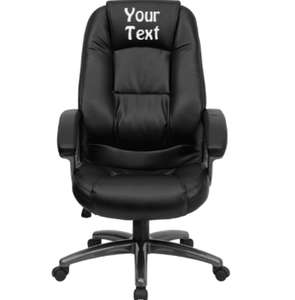Custom Designed Deep Curved Lumbar Executive Office Chair With Your Personalized Name & Graphic