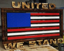 Load image into Gallery viewer, Custom Carved Wooden Signs | American Flag Sign | Patriotic Sign | Made in America | DG Custom Graphics