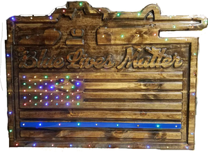 Custom Carved Wooden Signs | Blue Lives Matter | Support Officers In Blue | Made in America | DG Custom Graphics