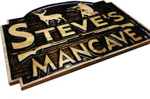 Load image into Gallery viewer, Custom Carved Wooden Signs | Cabin Signs | Lake House Signs | ManCave Signs | Personalized Wood Sign