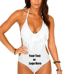 Custom Personalized Designed Fringed Bikini Swimsuit For Women One Piece Swimsuit | DG Custom Graphics