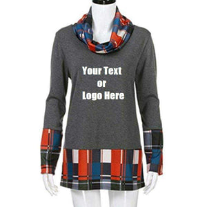 Custom Personalized Design Your Own Turtleneck Cowl Neck Plaid Patchwork Pullover Long Sleeve Sweatshirt Cotton Tonic Tops