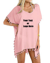 Load image into Gallery viewer, Custom Personalized Designed Women's Chiffon Tassel Beachwear Bikini Swimsuit Cover up