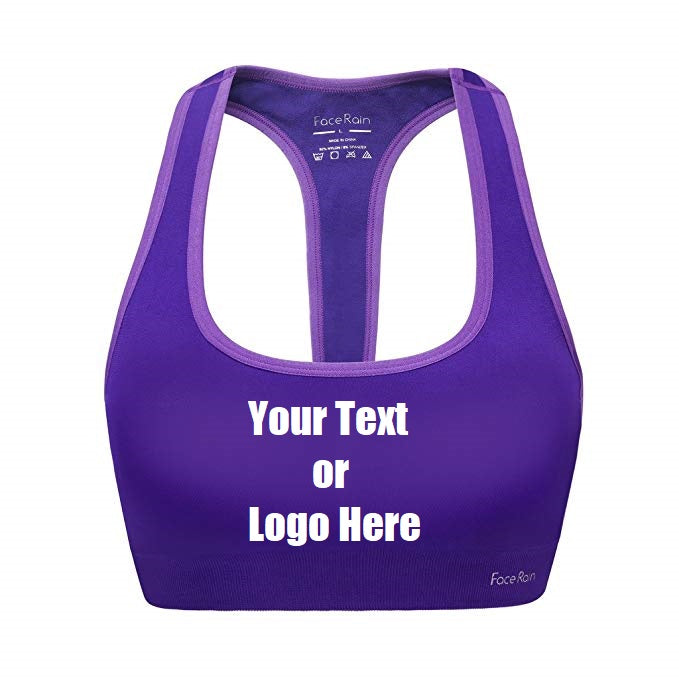 Custom Personalized Designed Workout Sports Bra Removeable Pads Raceback Medium Support Yoga Bras