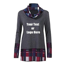 Load image into Gallery viewer, Custom Personalized Design Your Own Turtleneck Cowl Neck Plaid Patchwork Pullover Long Sleeve Sweatshirt Cotton Tonic Tops