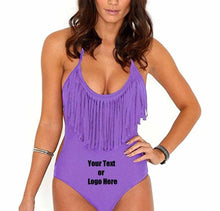 Load image into Gallery viewer, Custom Personalized Designed Fringed Bikini Swimsuit For Women One Piece Swimsuit
