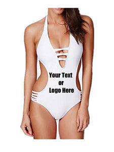 Custom Personalized Designed Halter Cut Out One Piece Bikini Swimwear | DG Custom Graphics