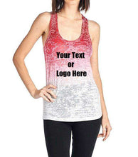 Load image into Gallery viewer, Custom Personalized Designed Women's Ombre Burnout Workout Tank Tops | DG Custom Graphics