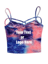 Custom Personalized Designed Spaghetti Strap Crop Top Criss Cross Camisole Tank Top