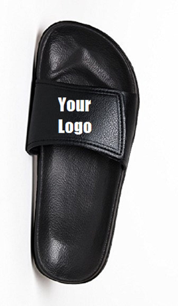 Custom designed athletic slides with your personal or business logo.