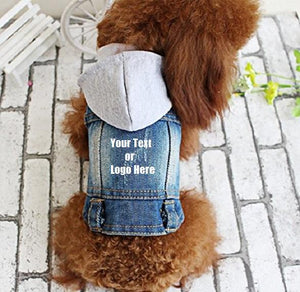Custom Personalized Design Your Own Dog Hoodie Denim Jacket Sweatshirt (Pet Clothing) | DG Custom Graphics