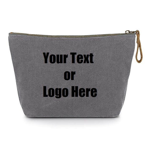 Custom Personalized Cotton Canvas Makeup Bag Pouch Purse Handbag with Zipper