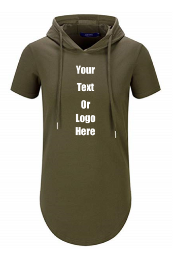 Custom Personalized Design Your Own Hipster Hip Hop Short Sleeve Longline Pullover Hoodie Shirt | DG Custom Graphics