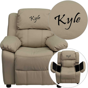 Custom Designed Kids Recliner with Storage Arms and Headrest With Your Personalized Name | DG Custom Graphics