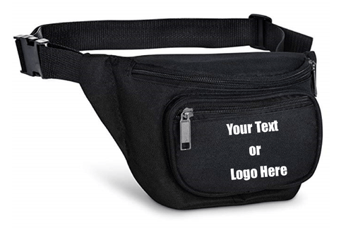 Custom Personalized 3 Zippered Compartments Adjustable Waste Sport Fanny Pack