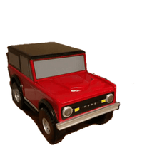 Load image into Gallery viewer, Custom Carved Wooden Bronco Toy Box / Personalized License Plate with Childs Name