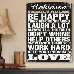 Personalized Signs Family Rules Canvas Print - Black | JDS