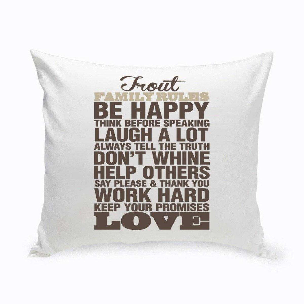 Personalized Rustic Family Rules Throw Pillow | JDS